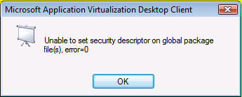 Unable to set security descriptor on global package file(s), error=0